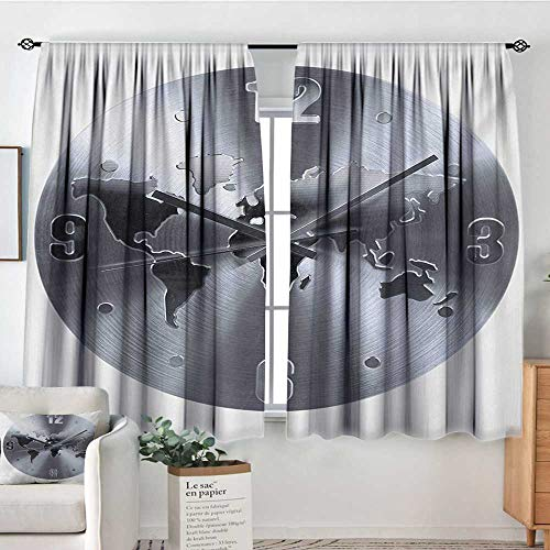 Clock Custom Curtains A Silver Clock Pattern with a World Map Checking The Time Hour and Minute Hand Print Thermal Blackout Curtains 63