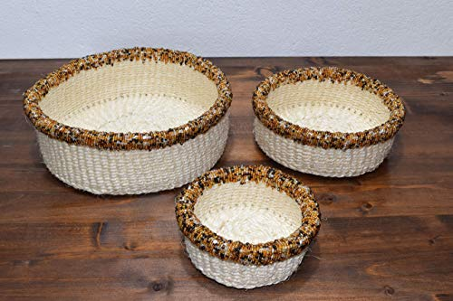 Set of Three African Baskets with Beads - 3'' Height x 8.5'' Wide - Handcrafted in Kenya - Natural, KK23 ()