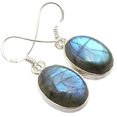 925 Sterling Silver Labradorite Oval Fishhook Earrings - January Birthstone - Magical Gemstones FmcdsygU