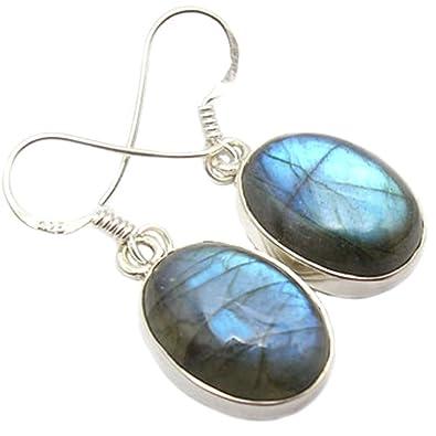 Labradorite earrings in sterling silver - Stone size 5x10mm wk0LPYXv
