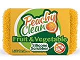 Antimicrobial Silicone Scrubber By Peachy Clean (Qty 1) - Longlasting Fruit & Vegetable Brush Veggie Scrubber
