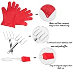 pannoramic 2xGloves Ove BBQ Silicone Heat Resistant Cooking Set Kitchen Mitts Pot Holder Including 1xBrush Basting Silicone Baking Grilling Oil Pastry Bakeware Tool 11 MAXIMUM PROTECTION AND TOP QUALITY SET. Our Ove Glove Non Slip Five Finger Exclusive Flame Design Heat Resistant 100% Waterproof, Easy To Rinse On A Dishwasher Safe Or Throw In The Sink, FDA Approved SUPER SET- ONLY THE BEST FOR YOU- Quality and the satisfaction of our customers is the most important for us. Make cooking and grilling more exciting, effortless and safer with this 3 Great Tools. This SUPEIOR VALUE SET ARE FUNCTIONALLY MATCHED AND VERY REASONABLY PRICED WITH 100% MONEY BACK SATISFACTION GUARANTEE. INCLUDING PREMIUM RESISTANT BASTING SILICONE BRUSH Ideal In The Kitchen When Cooking And Baking Pastry, Grill BBQ, Deserts, Marinades On Meat Spread Glazes, Sauces. Ergonomic Comfort Grip Handel, Heat Resistant. Perfect For Spreading Butter, Oil, Egg, Honey, Glazes Vegetables And Pastries. Designed to Mop up and Hold Generous Amounts of Liquid (BBQ Sauce, Butter Glaze) more Efficiently than your Average Basting Brushes. IS MORE LIKE THE QUIET MEMBER OF THIS SET BUT IT'S EFFICIENT, CONVENIENT, AN