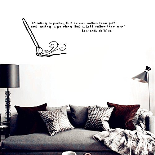 bileso Wall Stickers Art DIY Removable Mural Room Decor Mural Vinyl Art Quote 'Painting is Poetry'