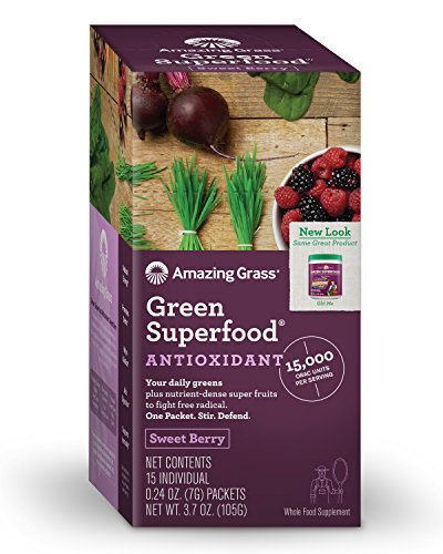 Amazing Grass Green Superfood Antioxidant Powder, Sweet Berry, Box of 15 Individual Servings, 0.24oz packets, Probiotic, digestive enzymes, vegan, detox, Gluten Free, vitamin C, Spirulina, Chlorella