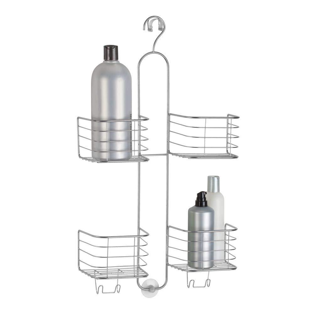 mDesign Estantería ducha sin taladro - 4 cestas- Accesorios ducha para organizar productos de higiene como champú, gel, acondicionador - Almacenamiento ...