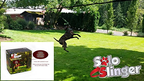 Tumbo Solo Slinger 50 ft Zipline Dog Rope Toy and Trolley Containment System by Tumbo