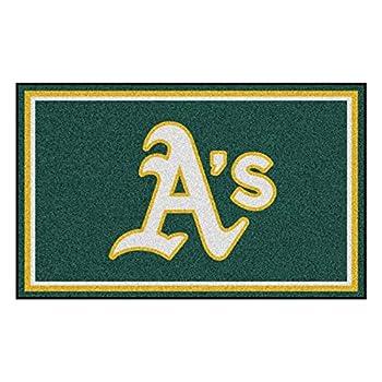 Image of Area Rugs FANMATS MLB Oakland Athletics Nylon Face 4X6 Plush Rug