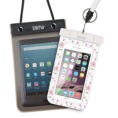 EOTW Waterproof Cell Phone Case Dry Bag Pouch For iPhone 6 6S Plus 5, Samsung Galaxy S6 S7 Edge Plus, Note 5 4 3, LG G3 G4 G5, Moto G4 G5 Plus, Passport, Keys, For Rafting Sailing Sledding Diving SPA (Case Clip Shuttle)