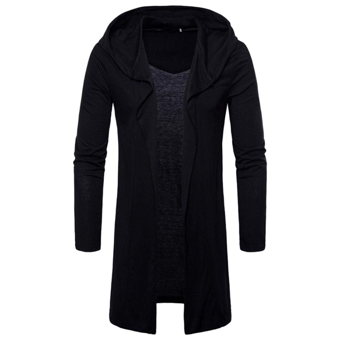 iZHH Mens Hooded Outwear Blouse Solid Trench Coat Jacket Cardigan Long Sleeve(Black,US-M)