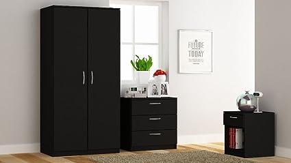 venice bedroom furniture set 3 piece set wardrobe chest bedside black wood