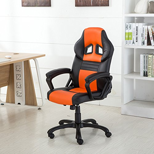 Belleze Executive Racing Office Chair PU Leather Swivel Computer Desk Seat High-Back, Black/Orange by Belleze