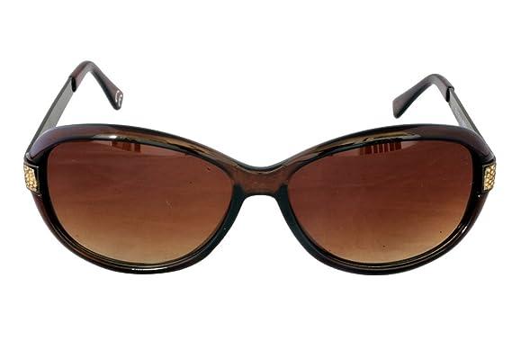 Foster Grant LEILA BRN FG83 Lunettes de soleil ovales de style femme Cadre en plastique marron et bras en métal Lentilles dégradées marron 100% Protection UV CAT 3 8OZaVE