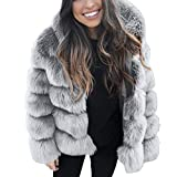 HOOUDO Womens Coat Autumn Winter Fashion Casual Solid Thick Outerwear Hooded New Faux Fur Thick Outerwear Cardigan Jacket(L,Grey)