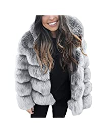 006f56c06 Pervobs Women Thick Coats Parka Hooded Faux Fur Jacket Outerwear Jacket  Overcoat