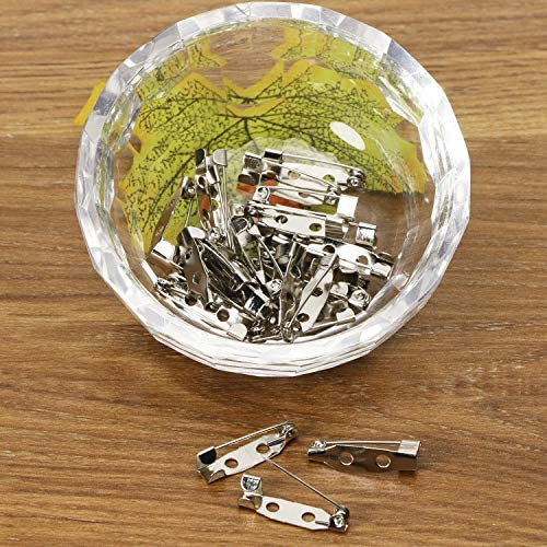 Shapenty 30PCS Locking Pins Backs Safety Clasp Brooch Badge Bar Jewelry Pins for DIY Craft Name Tags Toy/Ribbon Corsages/Costume Jewelry Making Sewing Felt Fabric Baby Shower Wedding Silver, 25MM