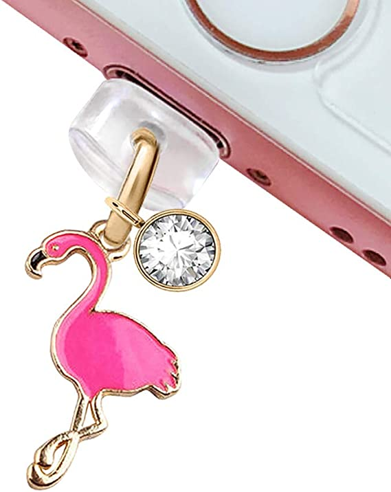 CP87 USB Charging Port Anti Dust Plug Cute Hot Pink Flamingo Pendant Phone Charm for iPhone 11// XS MAX//XR//X//8 Plus//7//6S//7//SE iPad iPod