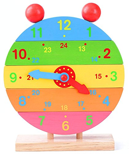 Babe Rock Wooden Pin Clock Toys Kid's Wooden Time Learning Puzzle & rainbow toys and Wooden Shape Sorting Clock by Babe Rock