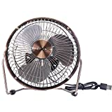 Mini USB Table Desktop Personal Fan, Metal Design, Quiet Operation, USB Cable Powered, High Compatibility Personal Table Fan with Adjustable Tilt, Desk Cooling Fan for Home Office (6 inches Copper)