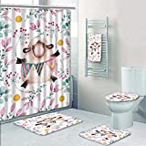 Philip-home 5 Piece Banded Shower Curtain Set Romantic Floral Watercolor Seamless with a lot of Elements Hand Made Flowers Leaves Sheep Little Decorate The Bath