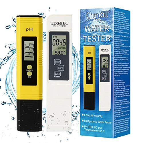 TDS Meter Digital Water Tester, PH Meter Combo, Water Quality Tester,Temperature and EC Meter with Carrying Case, 0-9999ppm, Ideal ppm Meter for Drinking Water, Aquariums and More(Upgrade LED)