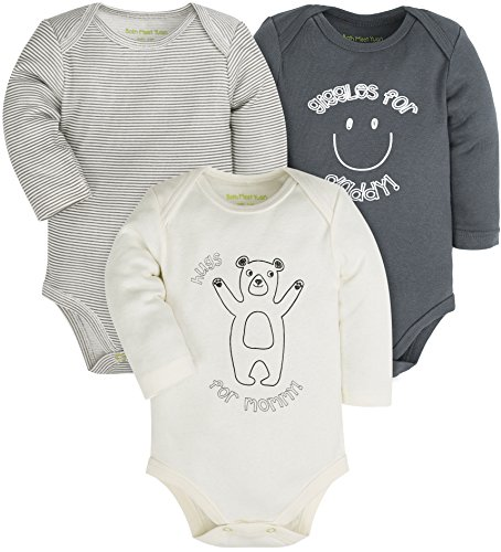 Baby 3-Pack Cotton Boys and Girls Long and Short Sleeve Bodysuits,Gray/White/Green(Bear) - Long Sleeve Short Sleeve Bodysuit