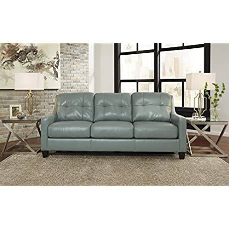 O Kean Contemporary Sky Color Leather Sofa