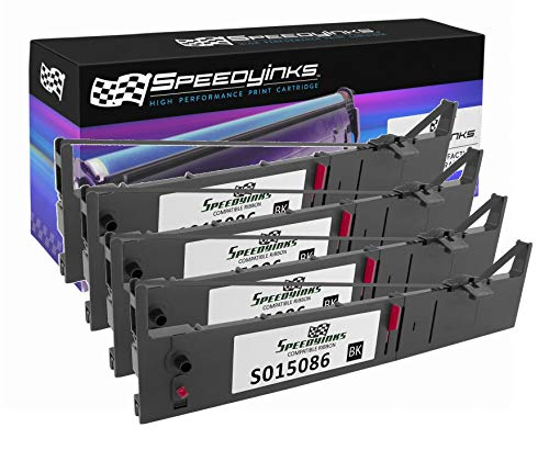 Speedy Inks Compatible Printer Ribbon Cartridge Replacement for Epson S015086 (Black, 4-Pack)