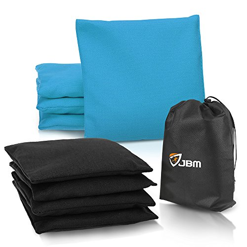 JBM Cornhole Bag (Pack of 8) Weather Resistant Cornhole Bags with Recycled Plastic Pellets for Tossing Corn Hole Game - Free Carrying Bag Included (Black & Tiffany, 14OZ)