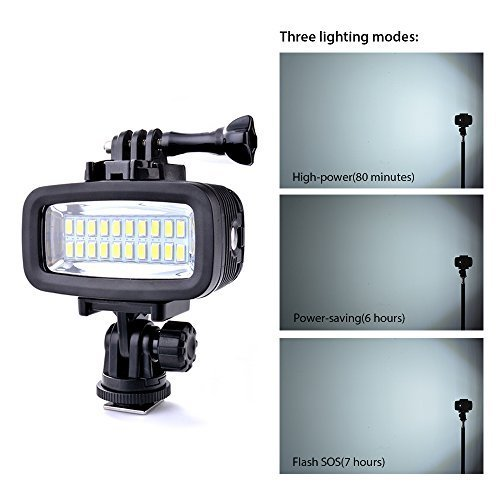 Sunix 40m Waterproof Diving Light, Rechargeable & Dimmable LED Video POV Flash Fill Light, 6W 20 LEDs 700LM with 1900mAh Built-in Rechargeable Batteries for GoPro Hero 5/4/3+/3/2/