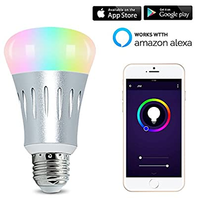 LED Smart Light Bulb, WIFI light, Multicolored Color Changing Bulbs, APP Controlled Daylight & Night Light No Hub Required. Timing Function,Compatible with Alexa and Google Assistant.
