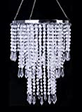 Cheap Acrylic Chandelier White Silver Acrylic Beaded Pendant for Decoration H11.4″ x D8.6″