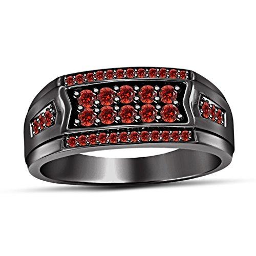 TVS-JEWELS 0.84CT Men's Designer Round Red VS Garnet Black Rhodium Plated Wedding Band Ring (10)