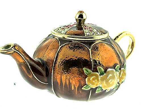 Round Gold Teapot Jewelry Trinket Box Pewter Crystallized Bejeweled Swarovski Crystals Hinged Collectible