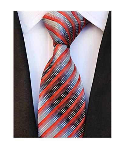 New Classic Orange Blue Striped Tie Woven Jacquard Silk Men's Suits Ties Necktie