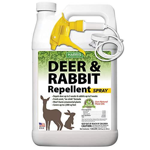 (Harris New Natural Deer & Rabbit Repellent, Long Lasting Fresh Scent Formula, 128oz)