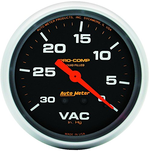AutoMeter 5484 Pro-Comp Liquid-Filled Mechanical Vacuum Gauge; 2-5/8 in; Black Dial Face; Fluorescent Red Pointer; White Incandescent Lighting; Mechanical; 0-30 IN HG;
