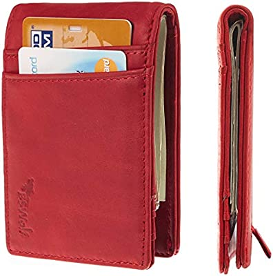 Wallets Mens RFID Blocking Genuine Leather with Pull Tab Front Pocket /& Money Cl