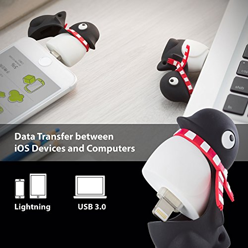 [Apple MFi Certified] 2-in-1 Lightning/USB 3.0 64GB Flash Drive for iPhone iPad iPod Mac PC, Bone Collection iOS OTG Memory Stick Thumb Drive Novelty Cute Animal Cartoon Design - Penguin by Bone (Image #2)
