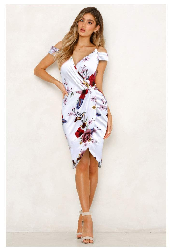 color2 CARRY Dress, Europe and America, Comfortable Soft Cocktail Dress, Printed Sling, Leaking Shoulder, Waist Pocket, Hip Dress (color   color1, Size   S)