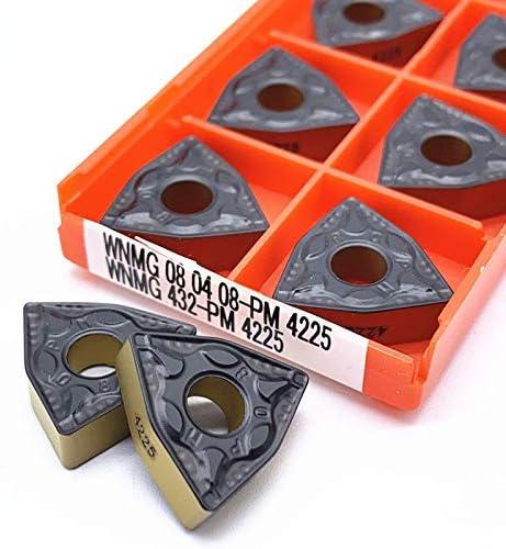 WITHOUT BRAND Qualitäts-10pcs WNMG080404 PM 4225 WNMG 080.408 PM 4225 Carbide Gesicht Fräswendeplatten Cutter Werkzeuge Klinge hohe Kosten-Leistung (Größe : WNMG080408PM 4225)