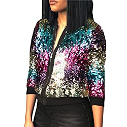 Multi-Color Short Sequins Jacket With Long Sleeves