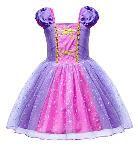 HenzWorld Rapunzel Dress Costume Girls Princess Halloween Cosplay Birthday Party Kids Clothes 4T 3-4 Years