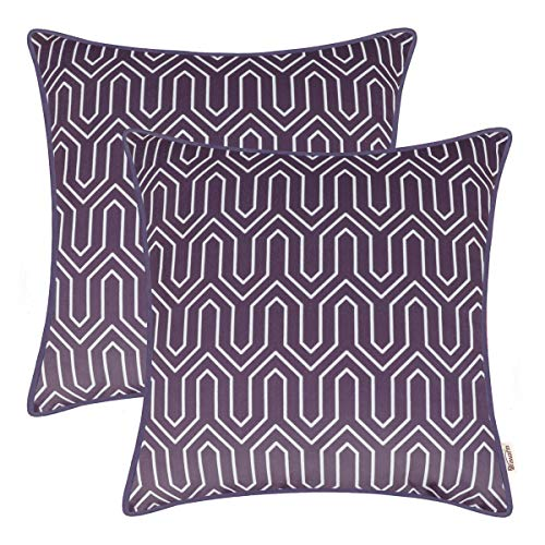 Brawarm Cozy Fleece Throw Pillow Cases Covers for Couch Bed Sofa Solid Geometric Chevron Printed Cushion Cover with Matched Piping Edges Home Decoration 18 X 18 Inches Plum Purple Pack ()