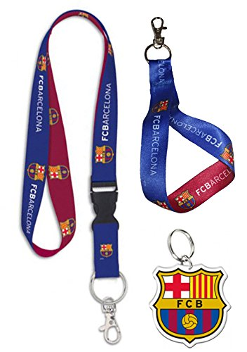WinCraft La Liga FC Barcelona Lanyard Triple Gift Set 1 Premium Lanyard, 1 Key Strap, and 1 Key - Fc Chain Barcelona
