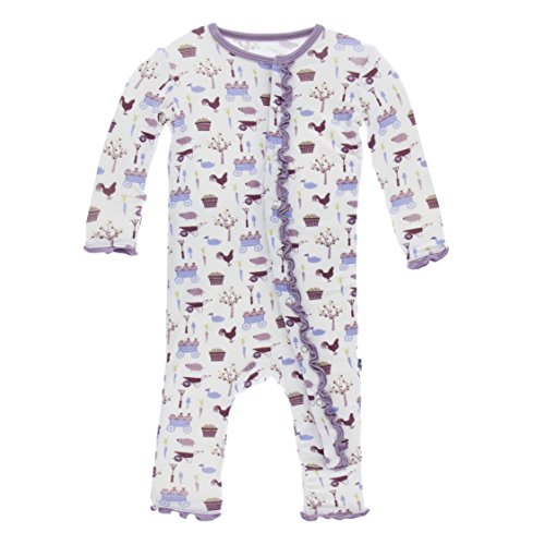 Kickee Pants Lotus Elephant Toddler Girl Ruffle Coverall 12-18 Months New