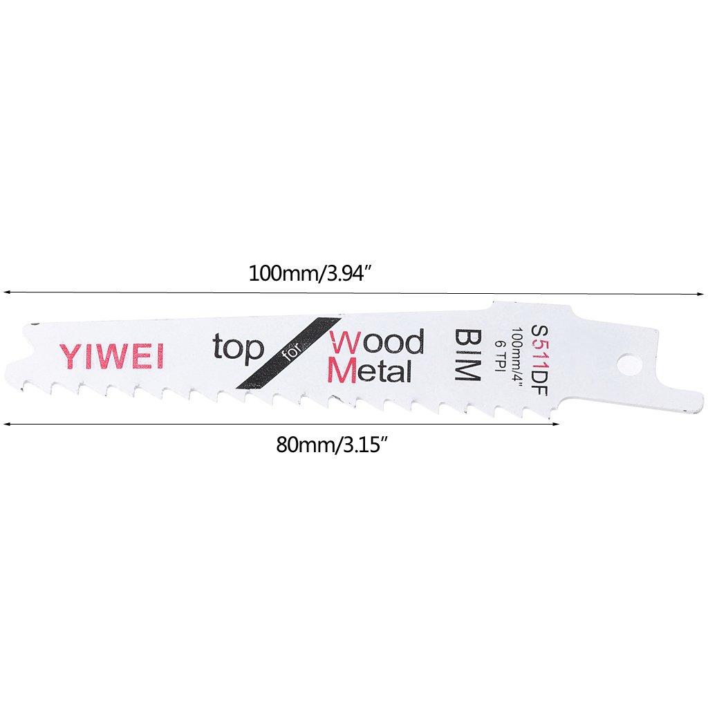 Yintiod S511DF Hoja flexible para sierra de sable 5 unidades, 100 mm, 4, para madera y metal