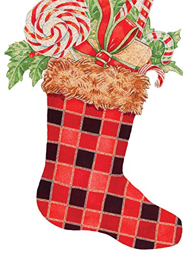 - Performing Arts Hangable Ornament Card Plaid Stocking Stationery Paper, 69012-12