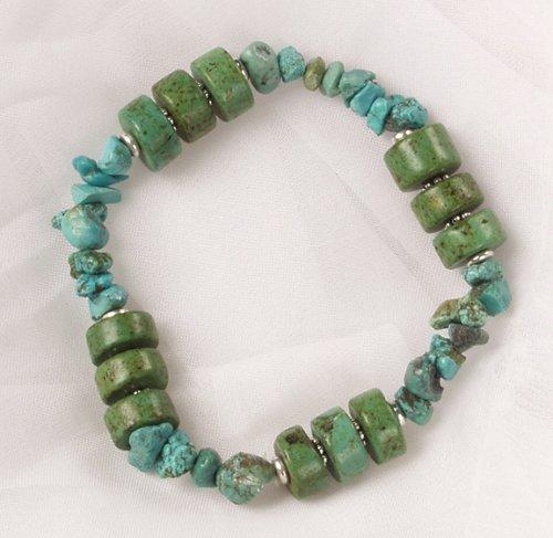 Green Turquoise Nugget Bracelet - Stretch Bracelet - Turquoise Beads