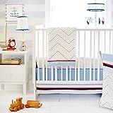 My Baby Sam First Mate 3 Piece Crib Bedding Set, Blue/Navy/Red/White