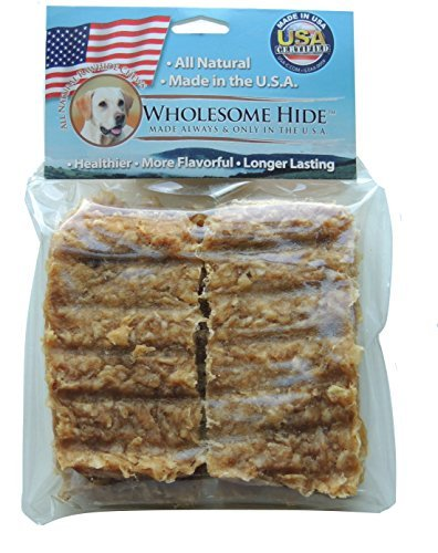Wholesome Hide - Rawhide Jerky Bars - Made with Real Chicken - 4 Bars - Good for Training OR Every day (Beefeaters Rawhide Chips)